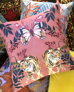 Blush pink Tiger Cushion 'Tigra' square Cushion made from Vegan Suede 45x45cm