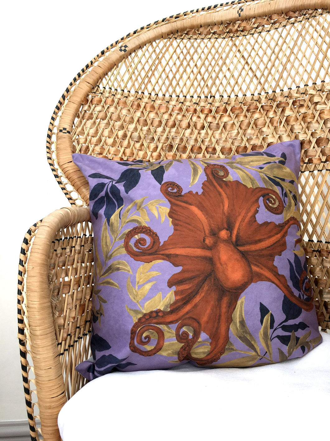 Octopus Cushion 'Octpoda' In Vegan friendly Suede with watercolour hand painted design, purple cushion
