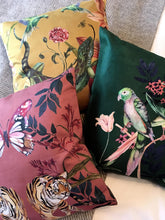 Load image into Gallery viewer, Forest green and blush pink 'Plumage' Cushion with parrot design made from Vegan Suede