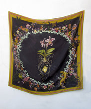 "Load image into Gallery viewer, Floral Silk Scarf ""Cardiac Silk"" black large scarf with orchid and butterfly design"