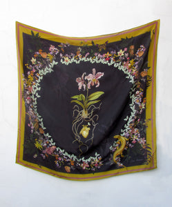 "Floral Silk Scarf ""Cardiac Silk"" black large scarf with orchid and butterfly design"