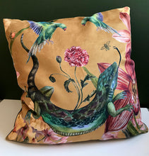 Load image into Gallery viewer, large Yellow Cushion 'Reptila' with watercolour lizard design in Vegan friendly Suede 60x60cm