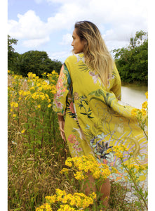 Yellow 'Enticement' Silk Kimono Jacket size L/XL handmade and unique illustrations- luxury lounging or evening wear