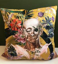 Load image into Gallery viewer, Large Yellow Cushion with striking Watercolour skull design 'Boto Cushion' in Vegan friendly Suede 60x60cm