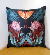 Load image into Gallery viewer, Vegan Suede Cushion 'Flutter' in Indigo  with tulip and Moon Moth illustration