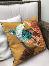 Load image into Gallery viewer, Golden Yellow cushion 'Glide' Vegan friendly Suede cushion with watercolour turtle design