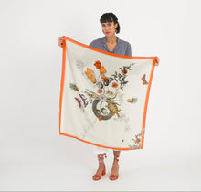 Load image into Gallery viewer, Red  'Algonquain Silk' square Silk mix Scarf with feather hem. vintage style botanical and insect illustrations