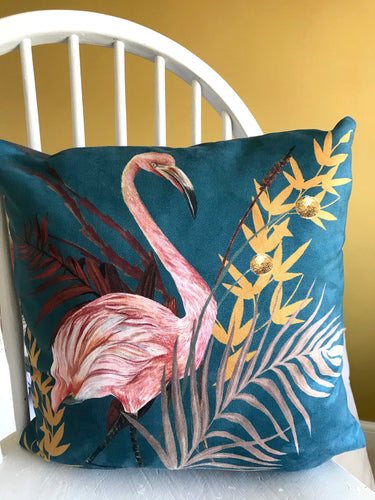 Teal Cushion 'Poise' with beautiful pink flamingo illustration, square cushion