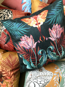 Vegan Suede Cushion 'Flutter' in Indigo  with tulip and Moon Moth illustration