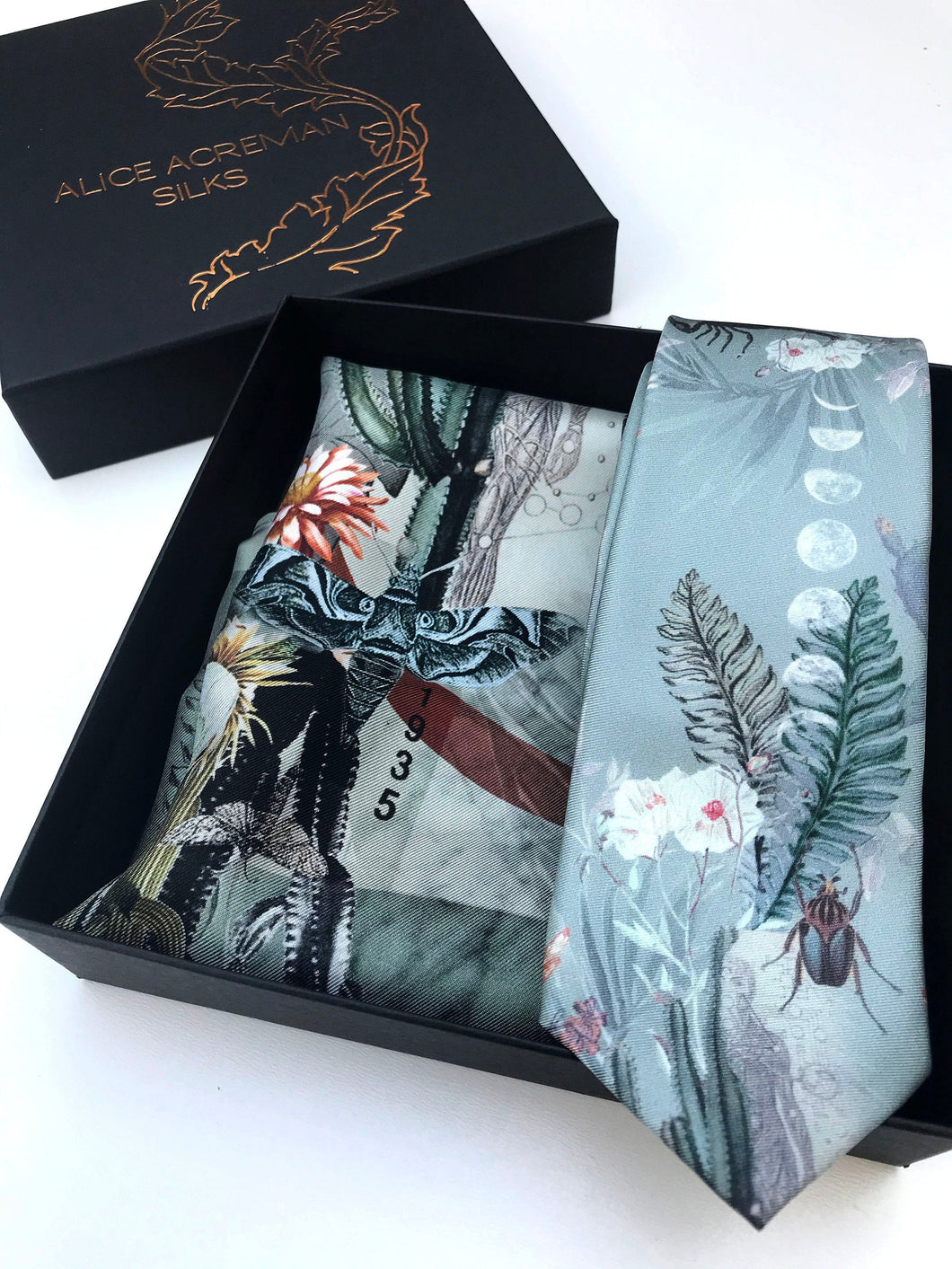 Sage Green Luxury Silk Pocket Square and tie men's Gift set 'Mirage' design inspired by Arizona Desert
