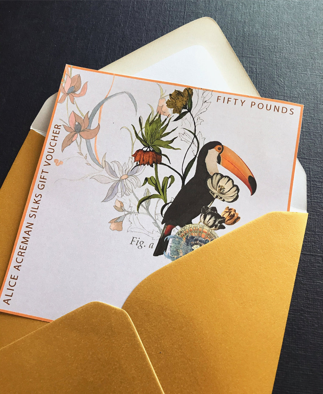 Alice Acreman silks gift voucher to the value of 25, 50 and 100 pounds with illustration