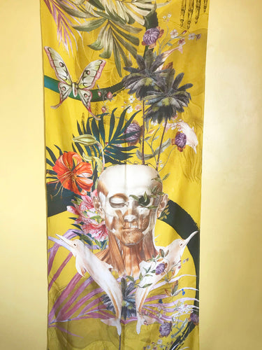 Yellow tropical print Scarf with floral skull design