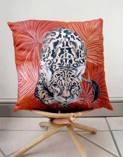 Orange Cushion with palm leaves and stalking leopard design 'Prowl' Vegan Suede fabric