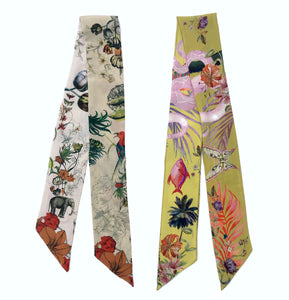 Cream 'Skinny' Silk scarf in the botanical  'Evolution' Print, delicate, lightweight Twilly style scarf accessory