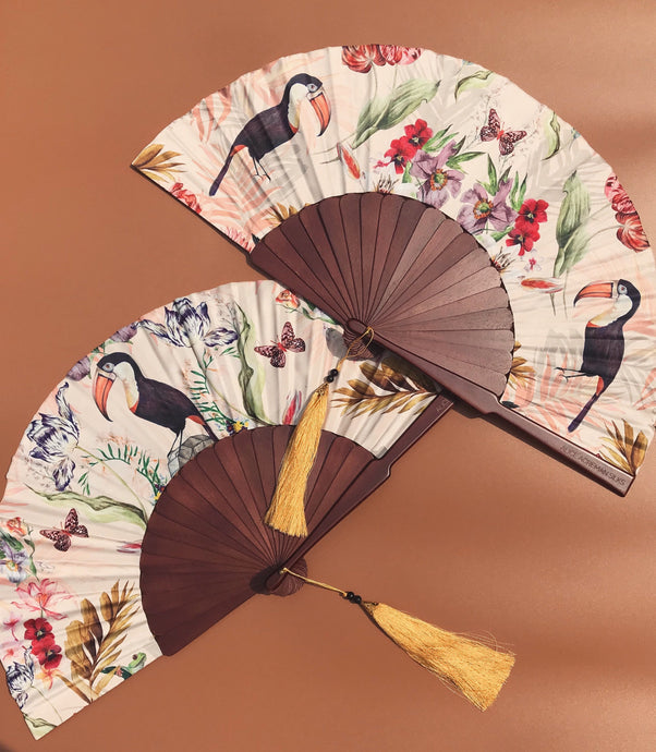 Floral Silk Fan with Toucan design and luxurious Gold tassle, part of the Mysa Collection