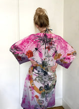 Load image into Gallery viewer, Pink Silk Kimono Jacket size L/XL, vibrant tie-dye over dyed silk jacket