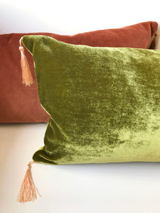 Silk Velvet Cushion 'Mellow ' in avocado green with pink tassels, rectangular shape, feather filling