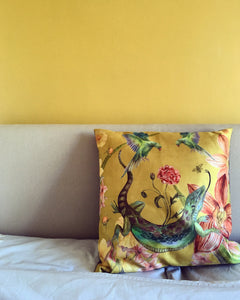 large Yellow Cushion 'Reptila' with watercolour lizard design in Vegan friendly Suede 60x60cm