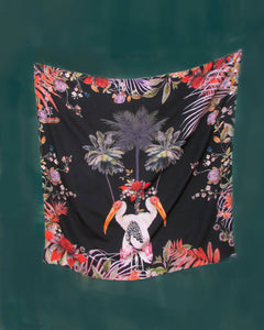"Colourful Black Silk scarf, ""Sibling"" botanical design large Silk scarf with tropical birds"