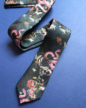 Load image into Gallery viewer, Navy Blue Silk Tie, 'Enticement' Pink Serpent design and tropical flowers, perfect groomsmen tie