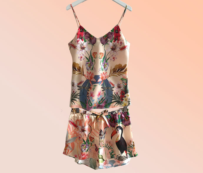 Silk Pyjamas- Set Cami and Shorts in 'Eden' Tropical Meadow Print, luxury lounge wear