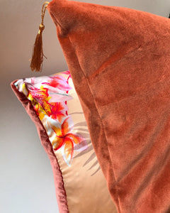 Velvet Cushion 'Flow' in Rust colour with gold tassels, rectangular shape and feather filling