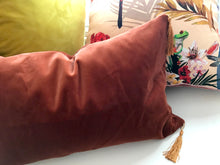 Load image into Gallery viewer, Velvet Cushion 'Flow' in Rust colour with gold tassels, rectangular shape and feather filling