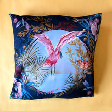 Load image into Gallery viewer, Giant Navy Blue floor cushion with spoonbill design