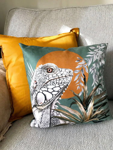 Sage Green Cushion with golden yellow reptile illustration, 'Bask' design made from soft Vegan friendly suede fabric