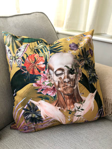 Large Yellow Cushion with striking Watercolour skull design 'Boto Cushion' in Vegan friendly Suede 60x60cm
