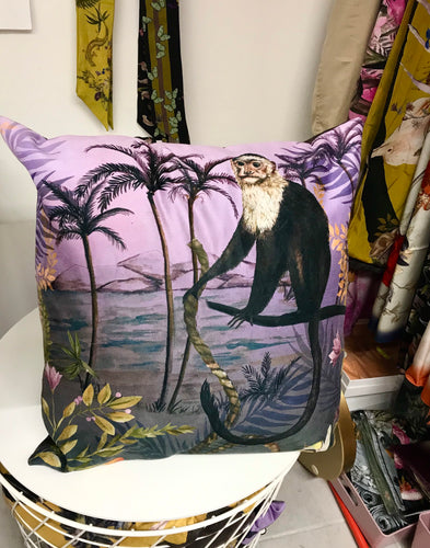 Lilac Vegan Suede Cushion with Capuchin monkey illustration
