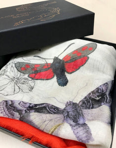 Red  'Algonquain Silk' square Silk mix Scarf with feather hem. vintage style botanical and insect illustrations