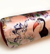 Load image into Gallery viewer, round Bolster Silk Velvet and Silk Satin Cushion with luxurious feather filling