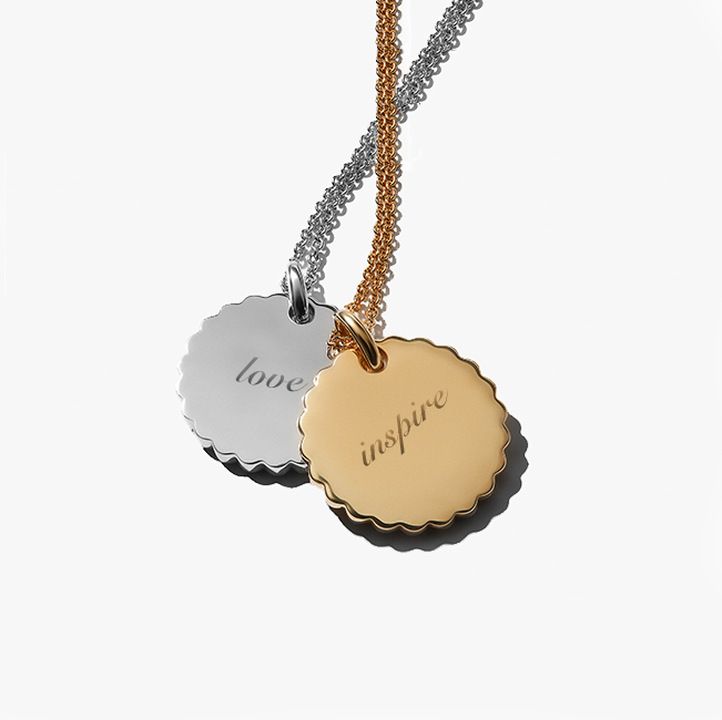 Gold and Silver Pendants Engraved with 'Love' and 'Inspire' | Awe Inspired