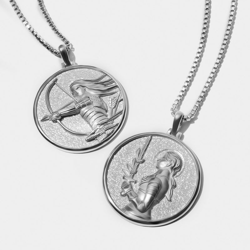 SOLID 14K WHITE GOLD JOAN OF ARC COIN NECKLACE-Necklaces-Awe Inspired