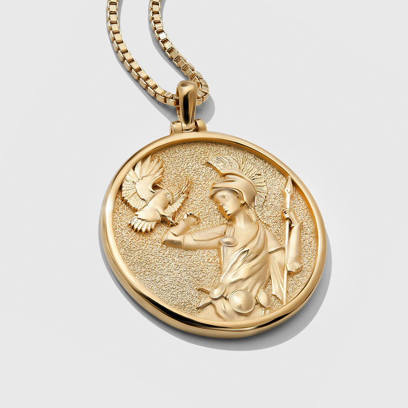 Athena Coin Necklace - Solid 14k Yellow Gold-Necklaces-Awe Inspired
