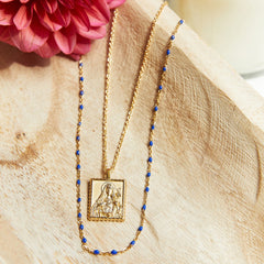 Navy Beaded Enamel Necklace-Necklaces-Awe Inspired