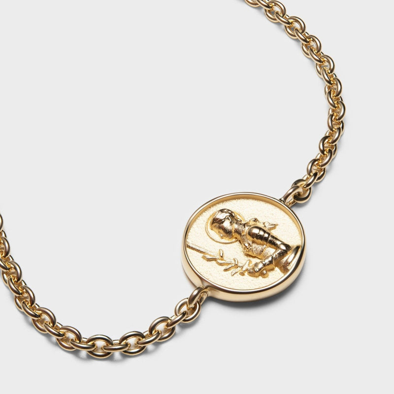 Joan of Arc Coin Bracelet - 14k Yellow Gold Vermeil-Bracelets-Awe Inspired