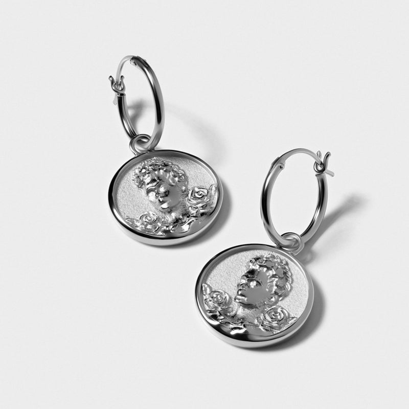 Frida Kahlo Coin Earrings - Sterling Silver-Earrings-Awe Inspired