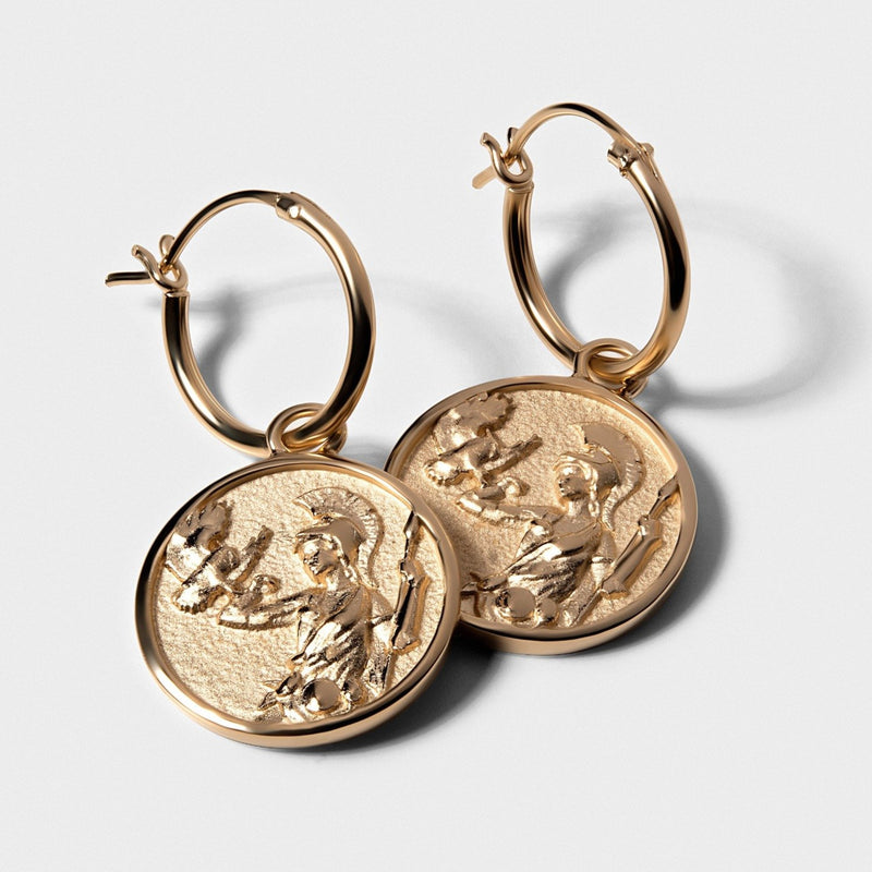 Athena Coin Earrings - 14k Yellow Gold Vermeil-Earrings-Awe Inspired