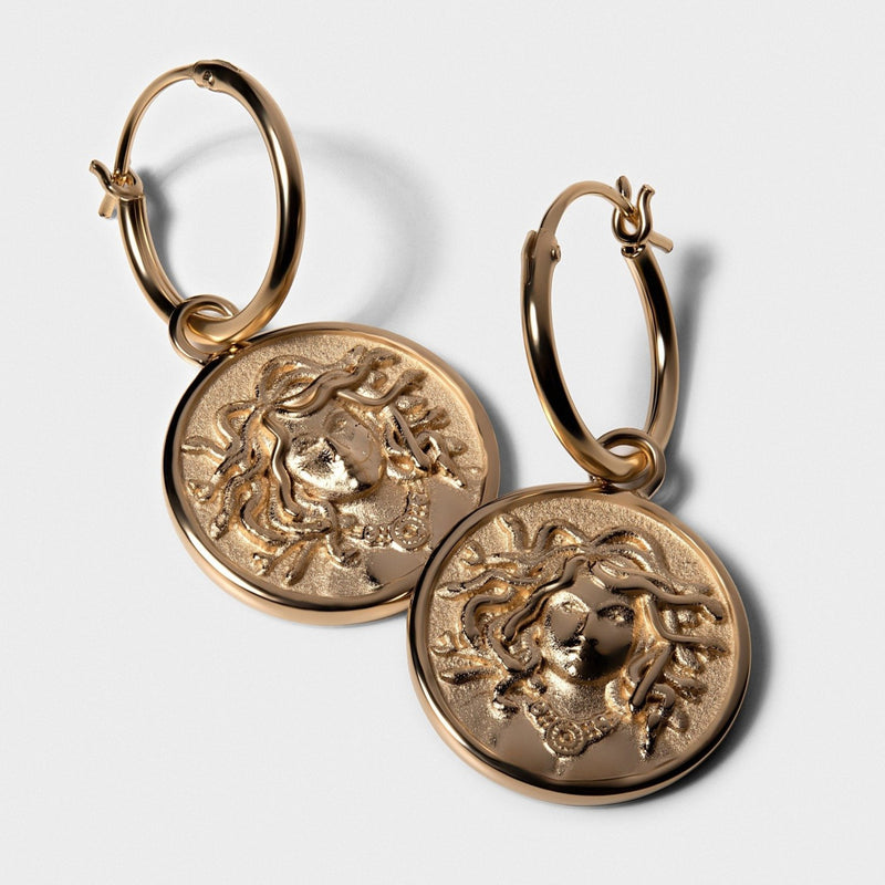Medusa Coin Earrings - 14k Yellow Gold Vermeil-Earrings-Awe Inspired