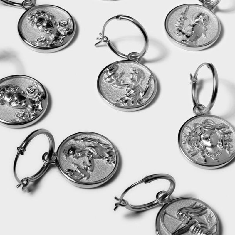 Athena Coin Earrings - Sterling Silver-Earrings-Awe Inspired