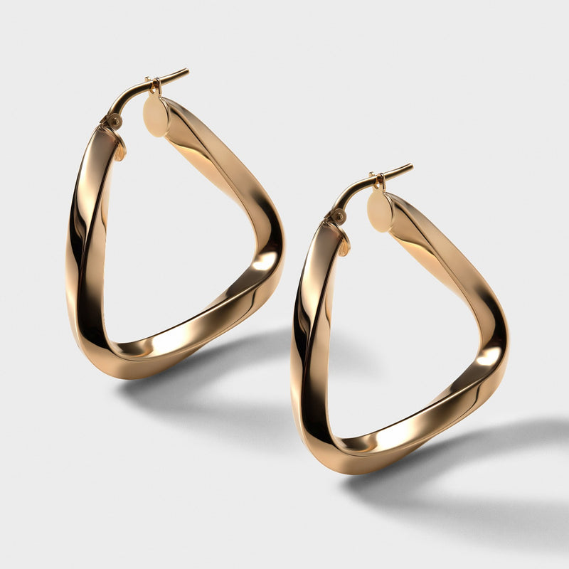 Triangle Hoops - 14k Yellow Gold Vermeil-Earrings-Awe Inspired
