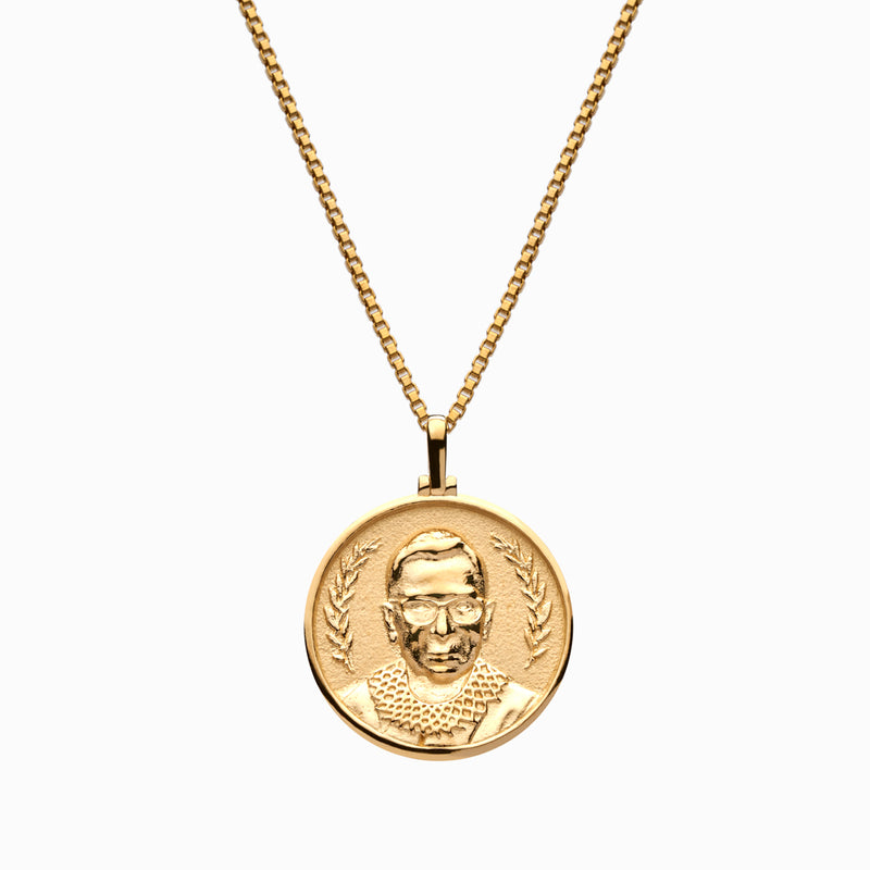 Solid 14k Yellow Gold Ruth Bader Ginsburg Necklace-Necklaces-Awe Inspired