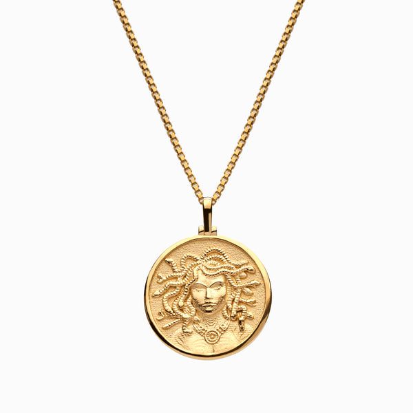 Solid 14k Yellow Gold Medusa Necklace-Necklaces-Awe Inspired