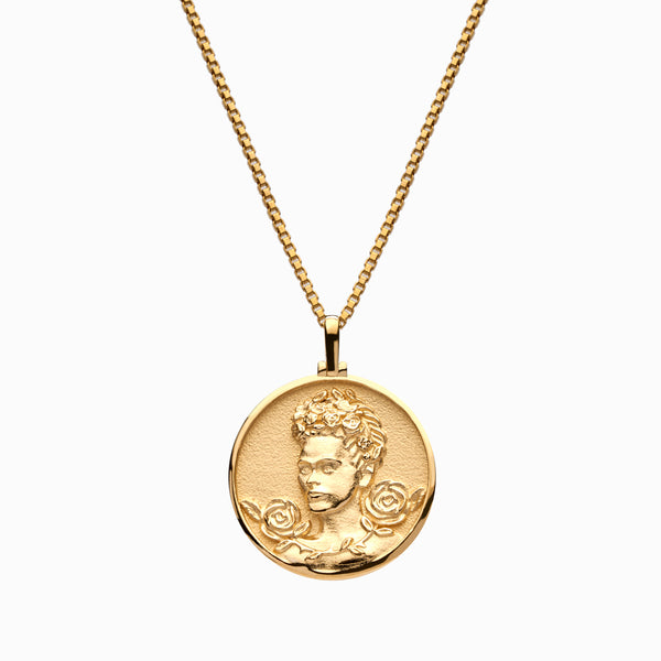 Solid 14k Yellow Gold Frida Kahlo Necklace-Necklaces-Awe Inspired
