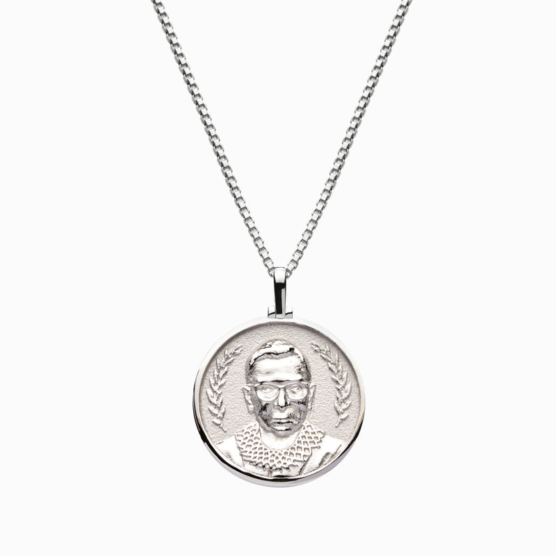 Solid 14k White Gold Ruth Bader Ginsburg Necklace-Necklaces-Awe Inspired