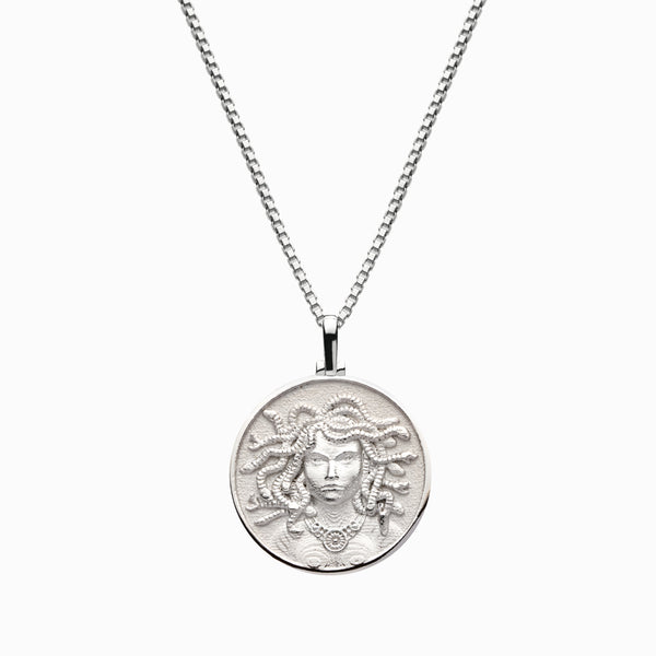 Solid 14k White Gold Medusa Necklace-Necklaces-Awe Inspired