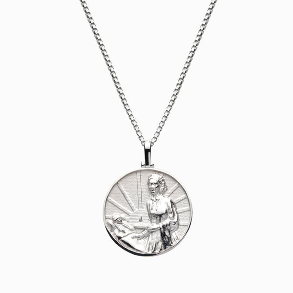 Solid 14k White Gold Florence Nightingale Necklace-Necklaces-Awe Inspired