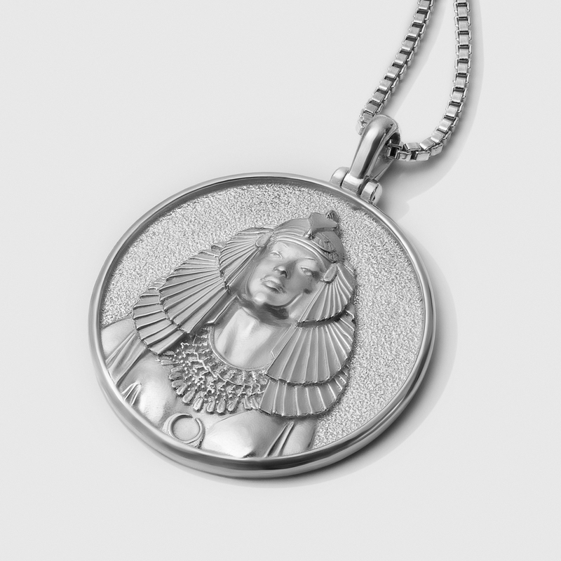 Cleopatra Coin Necklace - Sterling Silver-Necklaces-Awe Inspired